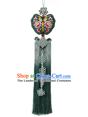 Traditional Korean Accessories Embroidered Waist Pendant Chinese Knot Palace Taeniasis, Asian Korean Wedding Hanbok Green Tassel Waist Decorations for Women