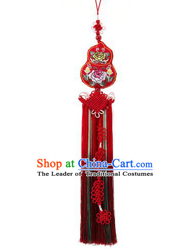 Traditional Korean Accessories Embroidered Waist Pendant Chinese Knot Palace Taeniasis, Asian Korean Wedding Hanbok Red Tassel Waist Decorations for Women