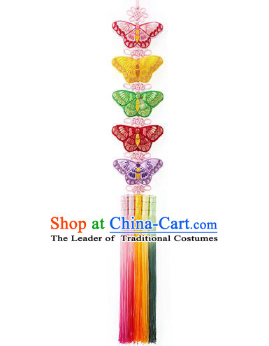 Korean National Accessories Bride Embroidered Butterfly Waist Pendant, Asian Korean Wedding Hanbok Colorful Tassel Palace Taeniasis Waist Decorations for Women