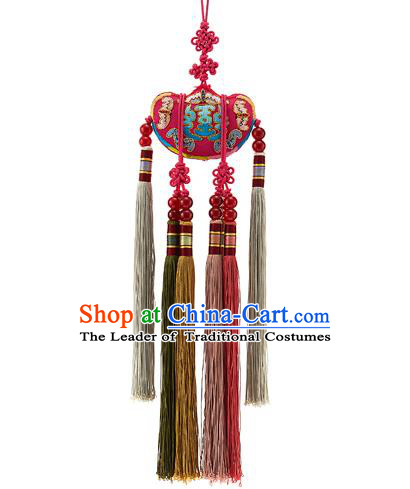 Korean National Accessories Bride Embroidered Red Chinese Knots Waist Pendant, Asian Korean Wedding Hanbok Tassel Waist Decorations for Women