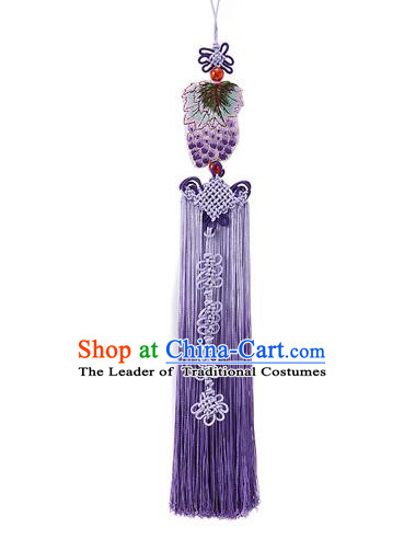 Korean National Accessories Bride Wedding Embroidered Grape Chinese Knots Waist Pendant, Asian Korean Hanbok Purple Tassel Waist Decorations for Women