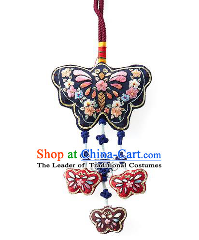 Asian Korean Hanbok Embroidered Butterfly Navy Waist Decorations, Korean National Belts Accessories Wedding Bride Waist Pendant for Women