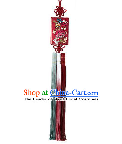 Korean National Belts Accessories Bride Wedding Embroidered Flowers Red Waist Pendant, Asian Korean Hanbok Orange Tassel Waist Decorations for Women