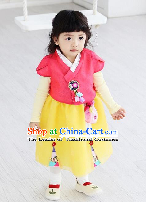 Asian Korean National Handmade Formal Occasions Embroidered Pink Blouse and Yellow Dress Hanbok Costume for Kids