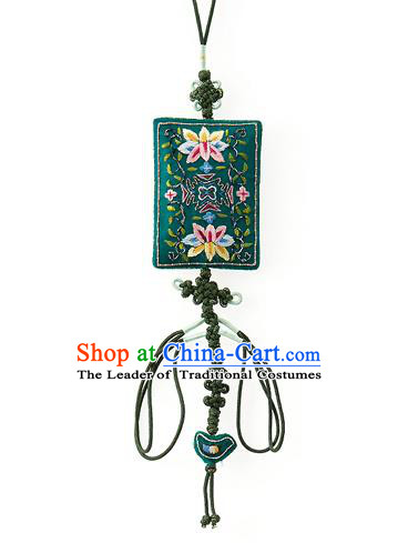 Asian Korean Hanbok Embroidered Lotus Green Waist Decorations, Korean National Belts Accessories Wedding Bride Waist Pendant for Women