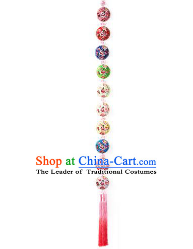 Korean National Accessories Bride Wedding Embroidered Chinese Knots Waist Pendant, Asian Korean Hanbok Tassel Waist Decorations for Women