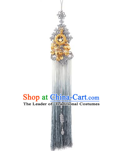 Korean National Belts Accessories Bride Wedding Hanbok Waist Pendant, Asian Korean Chinese Knot Grey Tassel Waist Decorations for Women