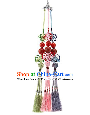Korean National Accessories Bride Wedding Chinese Knot Beads Waist Pendant, Asian Korean Hanbok Tassel Waist Decorations for Women