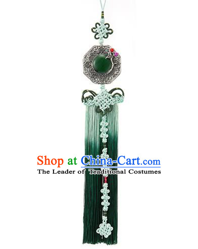 Korean National Accessories Bride Wedding Chinese Knot Jade Waist Pendant, Asian Korean Hanbok Green Tassel Waist Decorations for Women