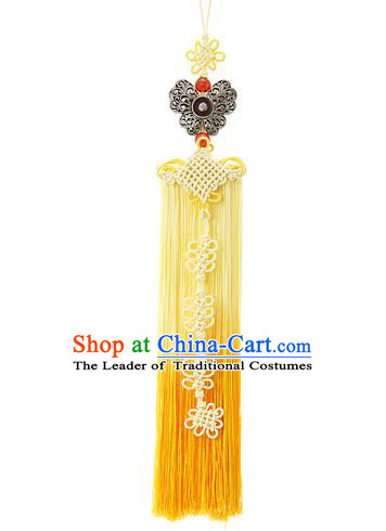 Korean National Belts Accessories Bride Wedding Hanbok Butterfly Yellow Tassel Waist Pendant, Asian Korean Waist Decorations for Women