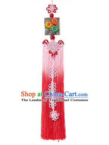 Asian Korean Hanbok Pink Chinese Knot Tassel Waist Decorations, Korean National Belts Accessories Bride Wedding Waist Pendant for Women
