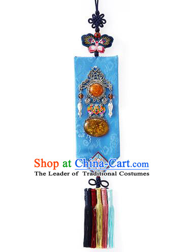 Asian Korean Hanbok Embroidered Blue Waist Decorations, Korean National Belts Accessories Wedding Bride Waist Pendant for Women
