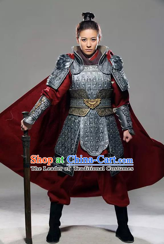 Traditional Chinese Southern and Northern Dynasties Female General Costume and Armour Complete Set