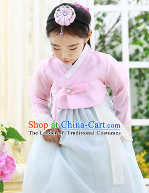 Asian Korean National Handmade Formal Occasions Embroidered Pink Blouse and Blue Dress Hanbok Costume for Kids