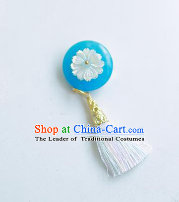 Korean National Accessories Blue Tassel Brooch, Asian Korean Hanbok Fashion Breastpin for Kids