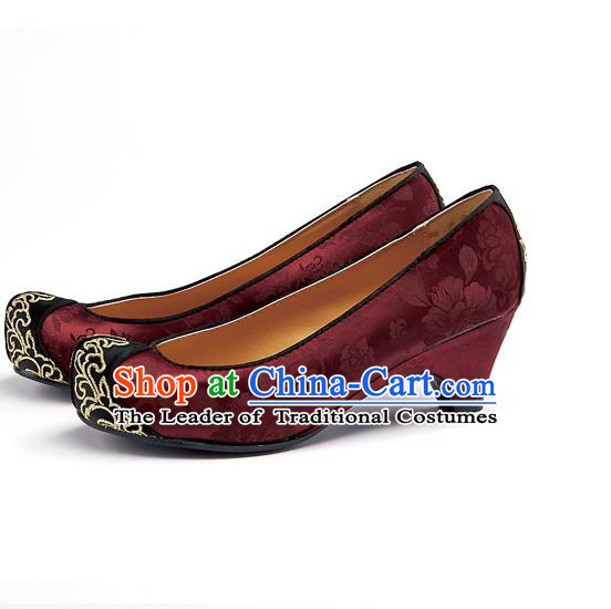Traditional Korean National Wedding Embroidered Wine Red Shoes, Asian Korean Hanbok Bride Embroidery Shoes for Women