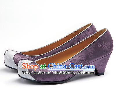 Traditional Korean National Wedding Purple Embroidered Shoes, Asian Korean Hanbok Bride Embroidery Satin High-heeled Shoes for Women