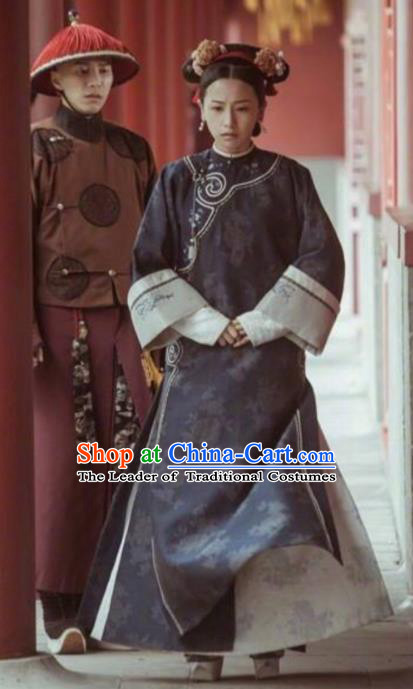 Traditional Ancient Chinese Qing Dynasty Imperial Consort Costume Manchu Lady Embroidered Clothing for Women