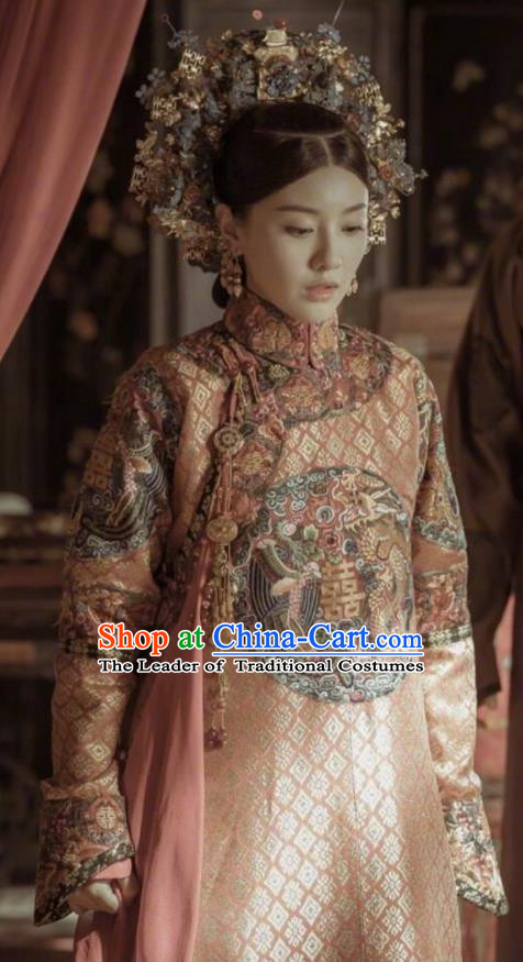 Traditional Ancient Chinese Qing Dynasty Imperial Empress Wedding Costume Manchu Palace Lady Embroidered Clothing for Women