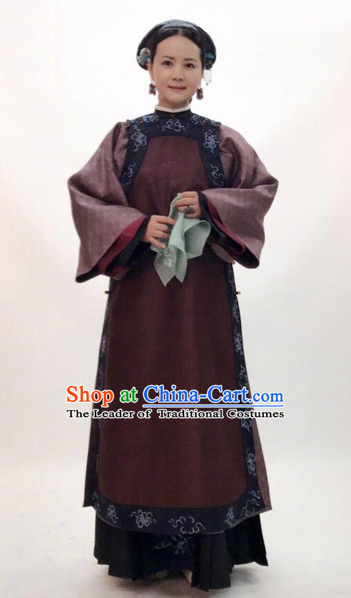 Story of Yanxi Palace Traditional Chinese Qing Dynasty Manchu Palace Dowager Embroidered Costume for Women