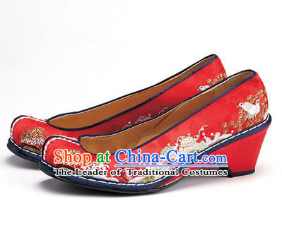 Traditional Korean National Wedding Shoes Embroidered Shoes, Asian Korean Hanbok Embroidery Red Bride Court Shoes for Women