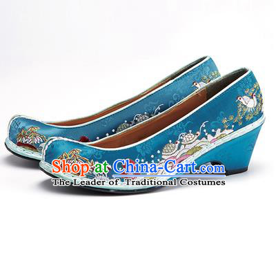 Traditional Korean National Wedding Shoes Embroidered Shoes, Asian Korean Hanbok Embroidery Blue Bride Court Shoes for Women