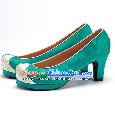 Traditional Korean National Wedding Shoes Deep Green Embroidered Shoes, Asian Korean Hanbok High-heeled Court Shoes for Women