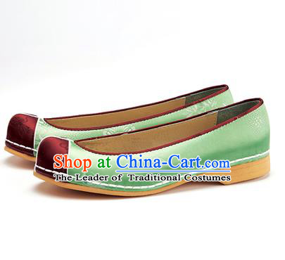 Traditional Korean National Wedding Shoes Green Embroidered Shoes, Asian Korean Hanbok Flat Shoes for Women