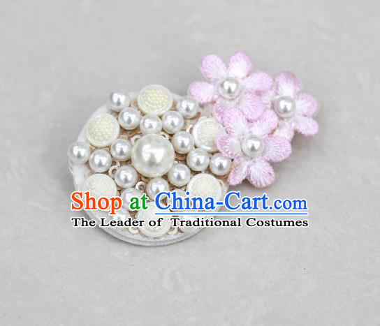 Traditional Korean National Accessories Pearls Brooch, Asian Korean Hanbok Fashion Breastpin for Kids