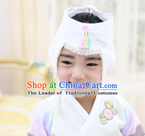 Traditional Korean Hair Accessories Bride Embroidered White Hats, Asian Korean Fashion Hanbok Headwear for Girls