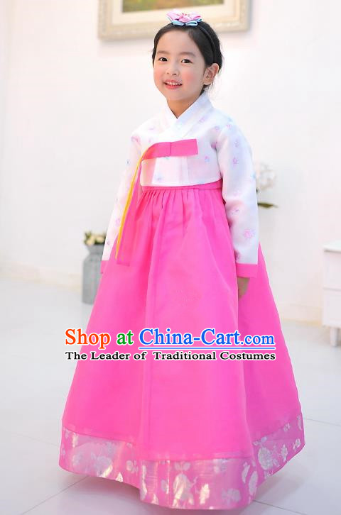 Asian Korean National Handmade Formal Occasions Wedding Embroidered Printing White Blouse and Pink Dress Traditional Palace Hanbok Costume for Kids