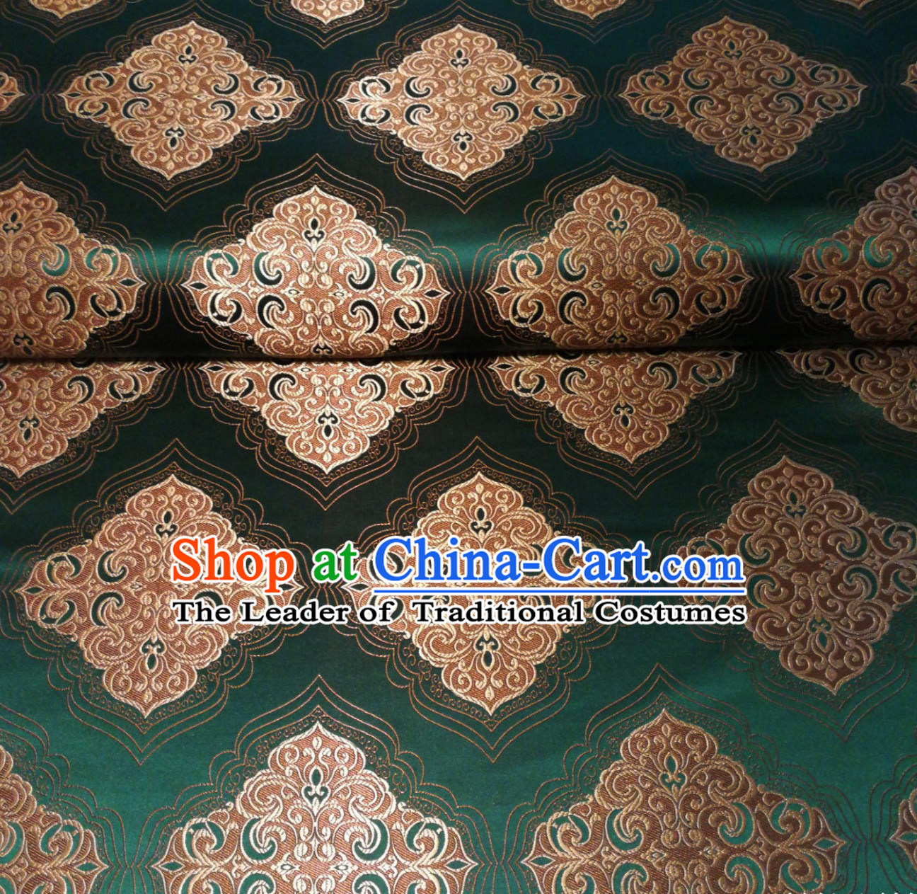 Royal Green Chinese Royal Palace Style Traditional Pattern Design Brocade Fabric Silk Fabric Chinese Fabric Asian Material