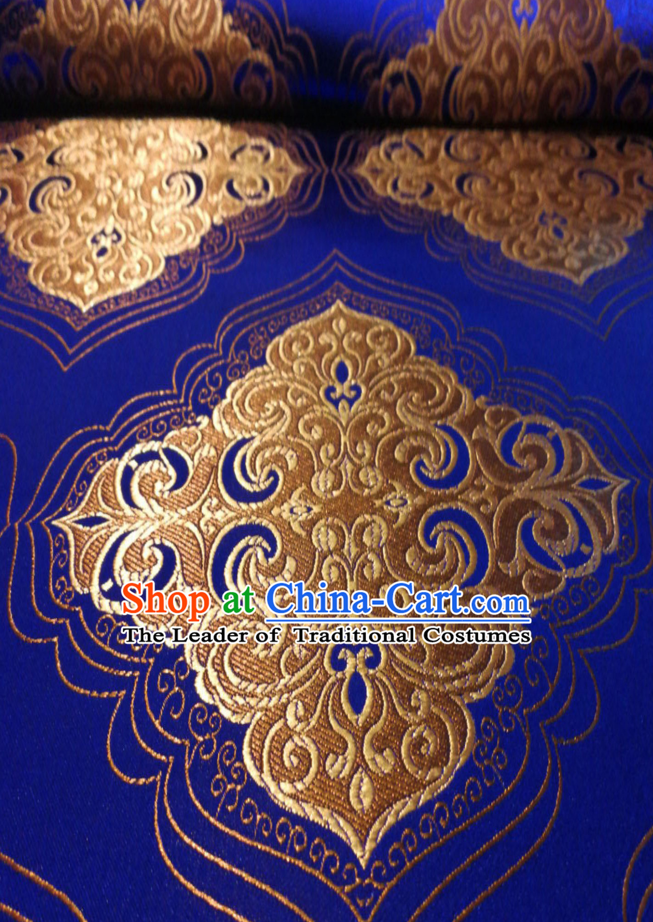 Royal Blue Color Chinese Royal Palace Style Traditional Pattern Design Brocade Fabric Silk Fabric Chinese Fabric Asian Material