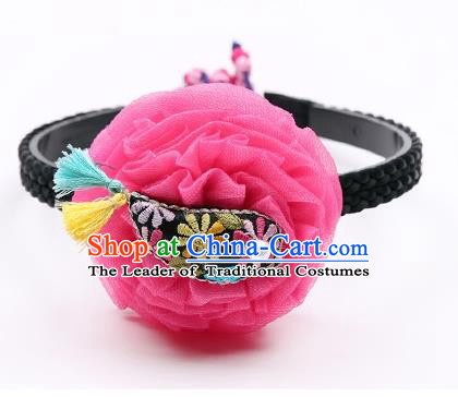 Traditional Korean Hair Accessories Rosy Flower Hair Clasp, Asian Korean Hanbok Fashion Headwear Headband for Kids