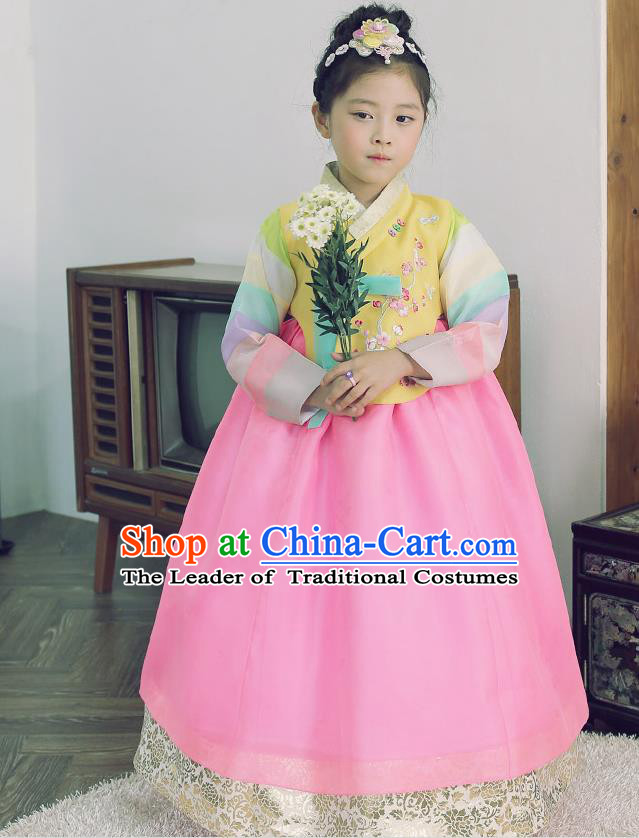 Asian Korean National Handmade Formal Occasions Wedding Embroidered Yellow Blouse and Pink Dress Traditional Palace Hanbok Costume for Kids