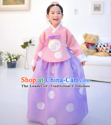 Asian Korean National Handmade Formal Occasions Wedding Printing Pink Blouse and Purple Dress Traditional Palace Hanbok Costume for Kids