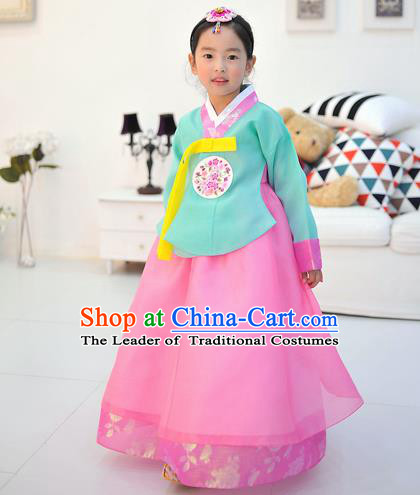 Asian Korean National Handmade Formal Occasions Wedding Embroidered Green Blouse and Pink Dress Traditional Palace Hanbok Costume for Kids