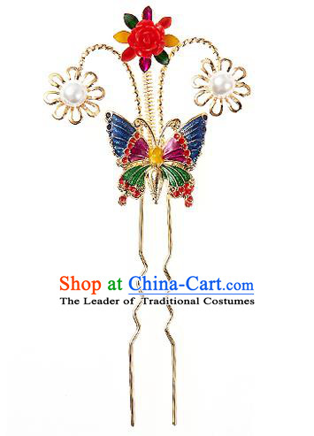 Traditional Korean National Wedding Hair Accessories Bride Hairpins, Korean Hanbok Fashion Hair Stick Headwear for Women