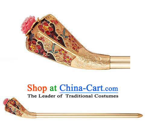 Traditional Korean National Hair Accessories Bride Golden Hairpins, Asian Korean Hanbok Fashion Headwear Palace Hair Stick for Women