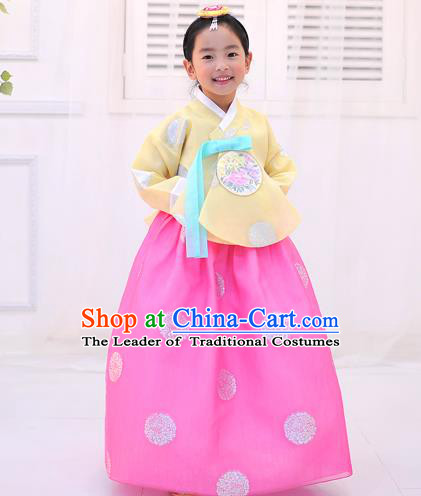 Asian Korean National Handmade Formal Occasions Wedding Printing Yellow Blouse and Pink Dress Traditional Palace Hanbok Costume for Kids