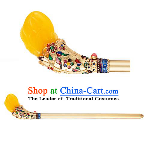 Traditional Korean National Hair Accessories Yellow Hairpins, Korean Palace Hanbok Fashion Headwear for Women