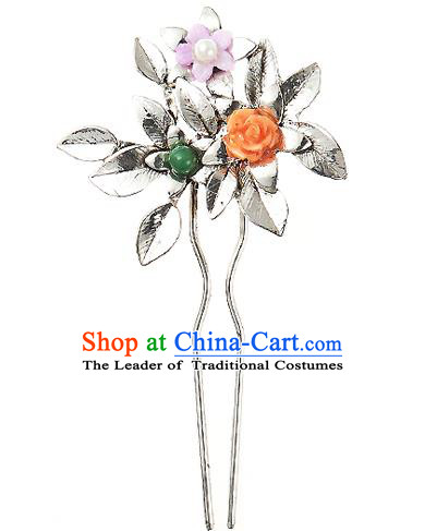 Traditional Korean National Hair Accessories Flowers Hairpins, Korean Palace Hanbok Fashion Headwear for Women