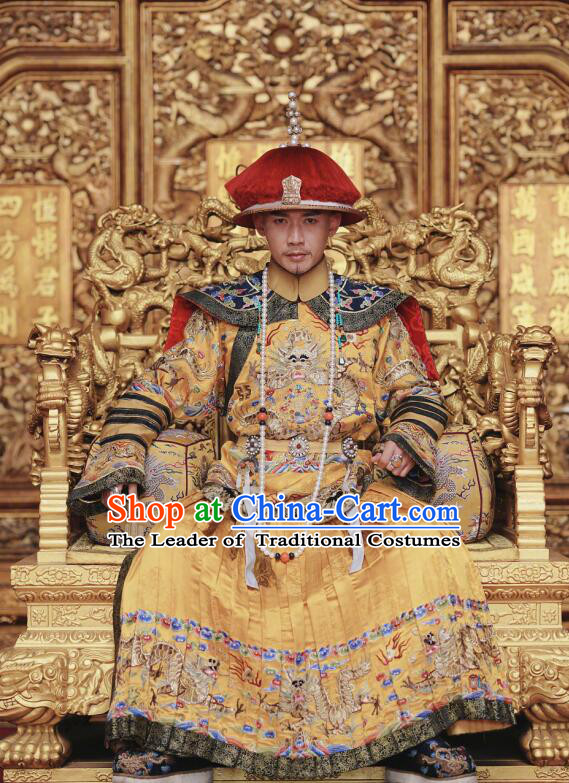 Traditional Chinese Qing Dynasty Imperial Emperor Costume and Headwear Complete Set, Chinese Manchu Majesty Mandarin Embroidered Dragon Robe for Men