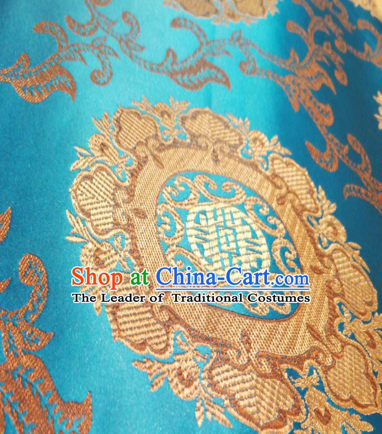 Lake Blue Color Traditional Chinese Round Flower Brocade Fabric