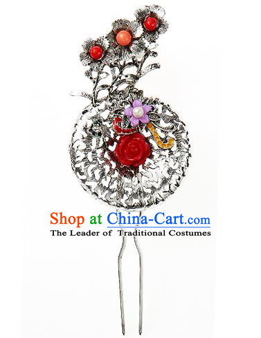 Korean National Wedding Hair Accessories Bride Rose Hairpins, Korean Hanbok Fashion Palace Hair Clasp for Women