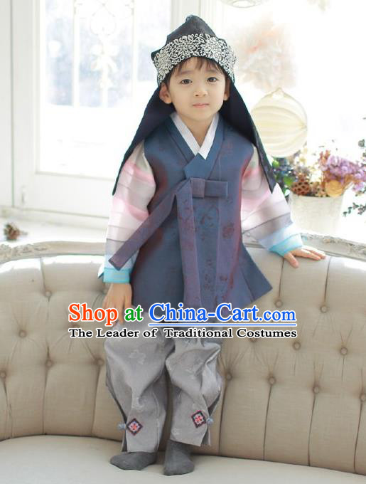 Asian Korean National Traditional Handmade Formal Occasions Boys Embroidery Deep Grey Vest Hanbok Costume Complete Set for Kids