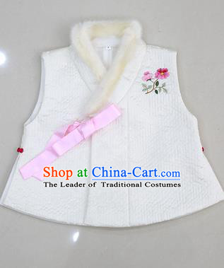 Asian Korean National Traditional Handmade Formal Occasions Embroidered White Hanbok Waistcoat for Kids