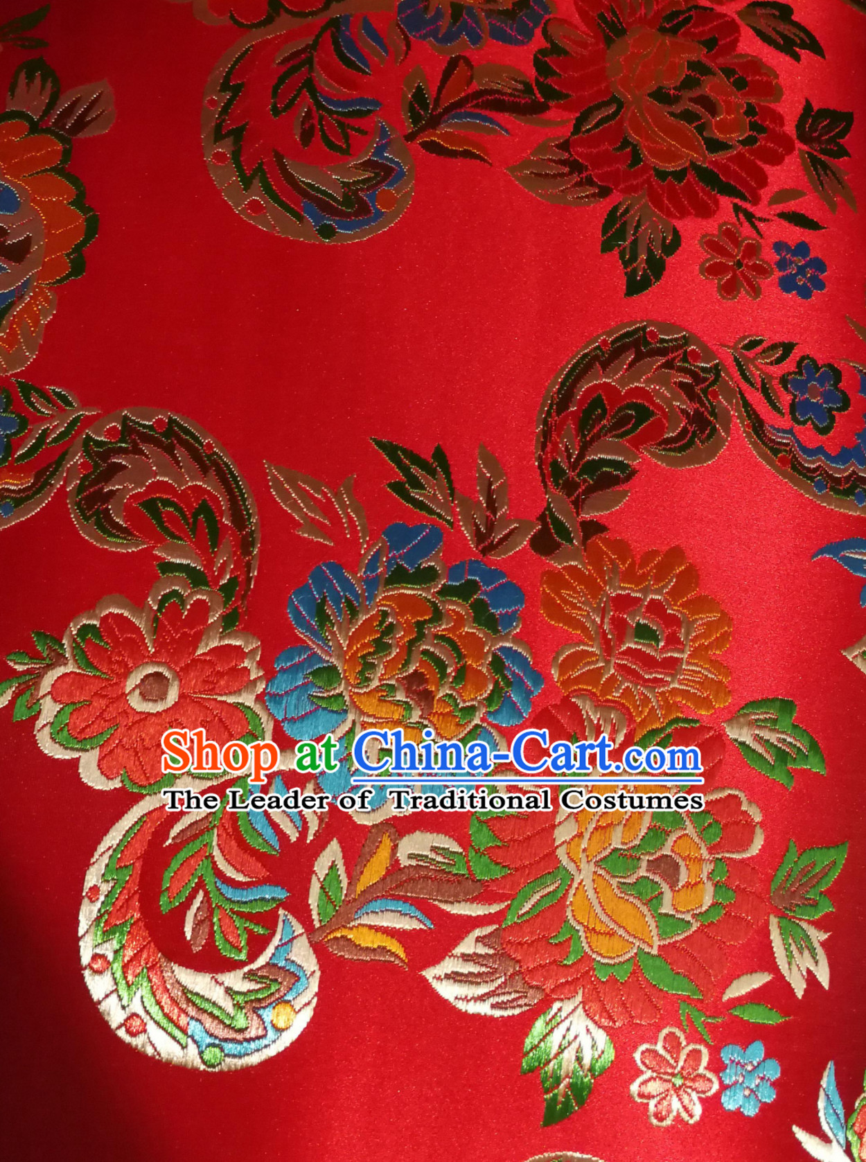 Royal Red Color Chinese Royal Palace Style Traditional Flower Peony Pattern Design Brocade Fabric Silk Fabric Chinese Fabric Asian Material