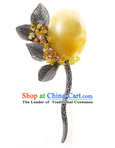 Korean National Wedding Hair Accessories Bride Yellow Hair Clip, Korean Hanbok Fashion Palace Hairpins for Women