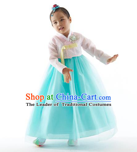 Asian Korean National Handmade Formal Occasions Wedding Clothing Pink Blouse and Blue Dress Palace Hanbok Costume for Kids